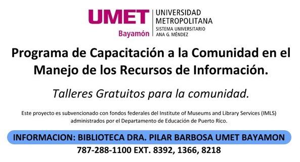 Programa de capacitación a la comunidad en el Manejo de los Recursos de Información