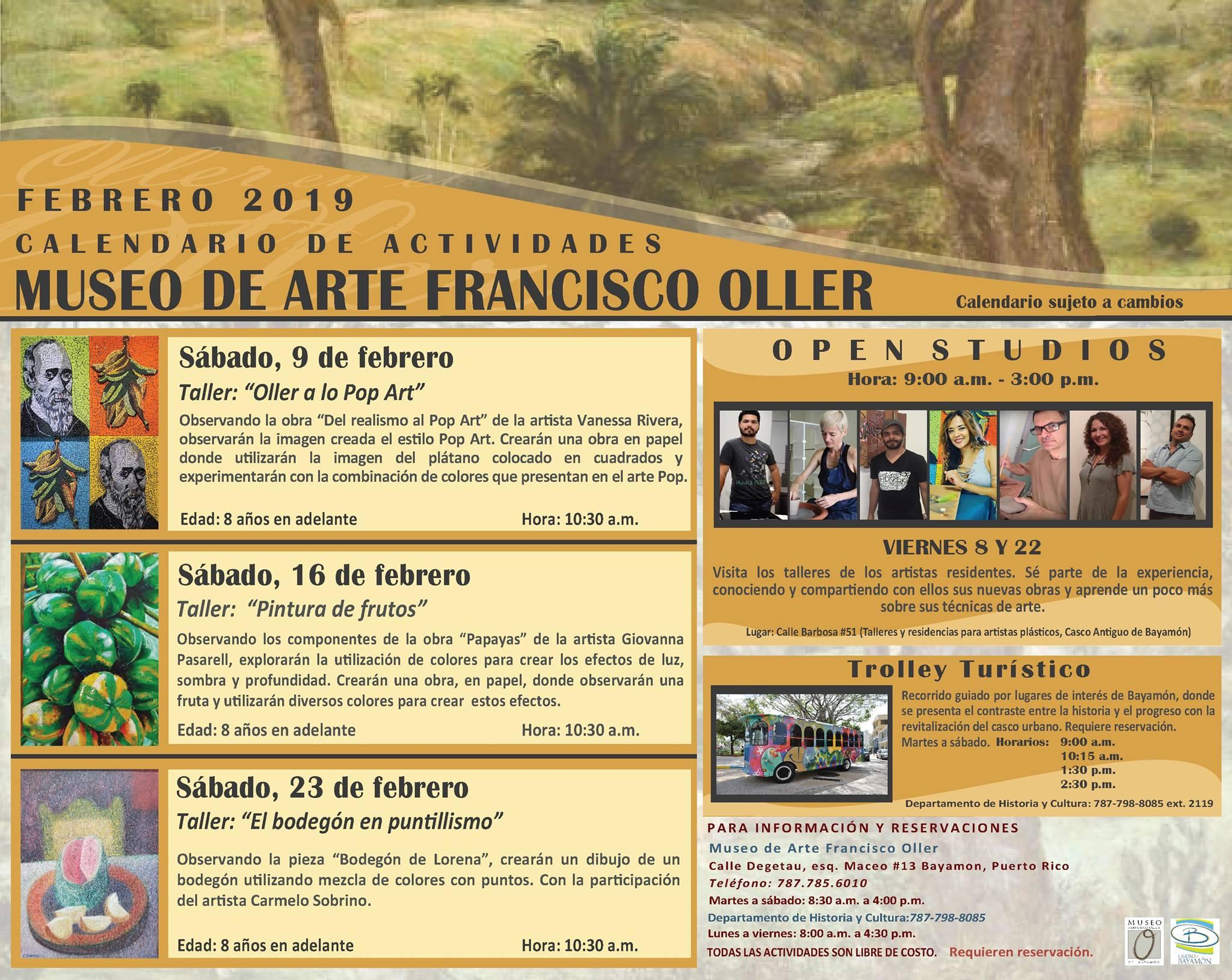 Calendario de Actividades: Museo Francisco Oller Mes de Febrero