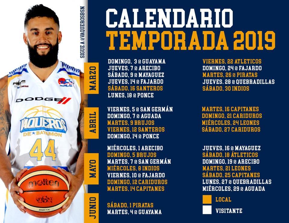 Calendario Temporada 2019 Juegos BSN