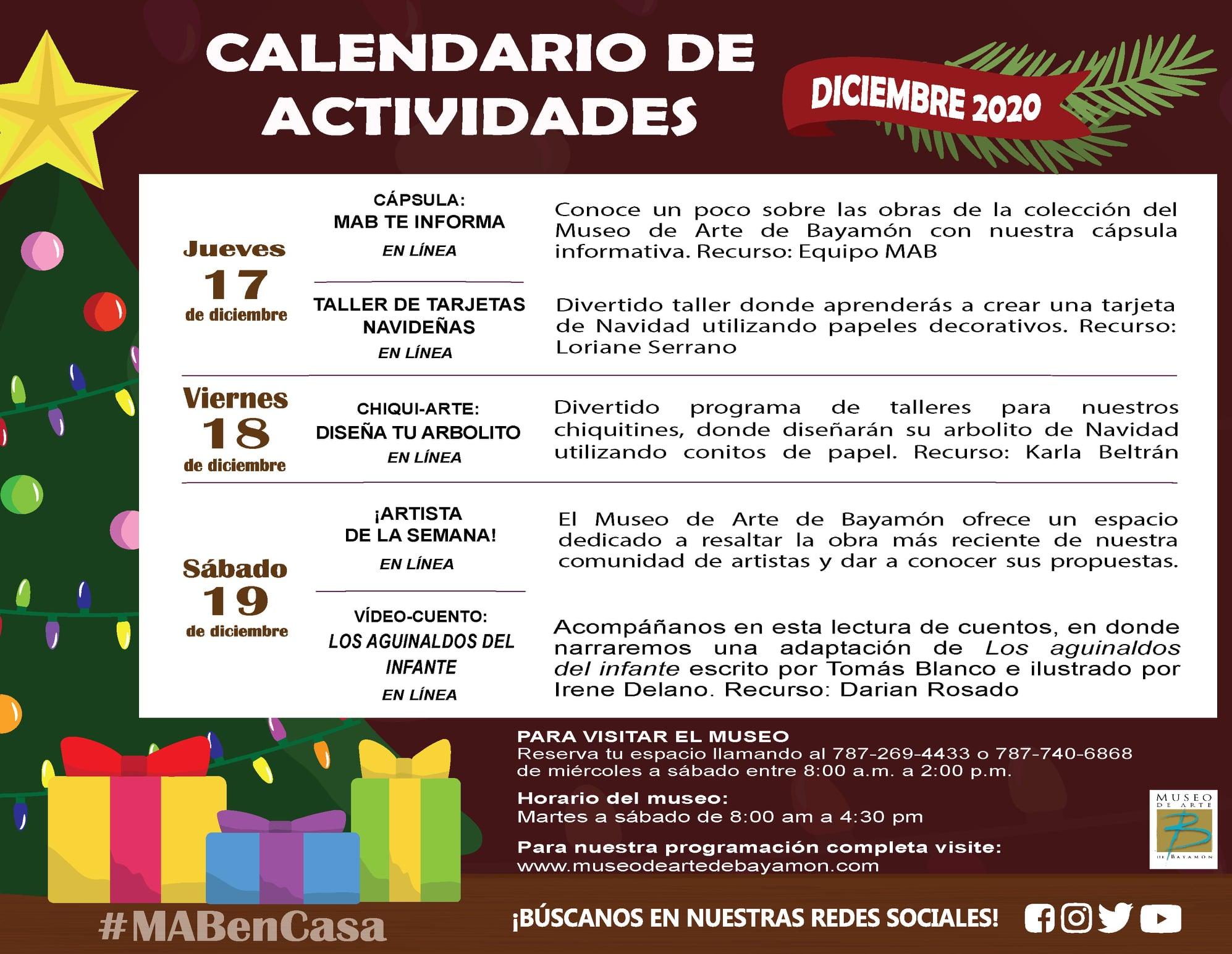 Calendario de Actividades #MABenCasa